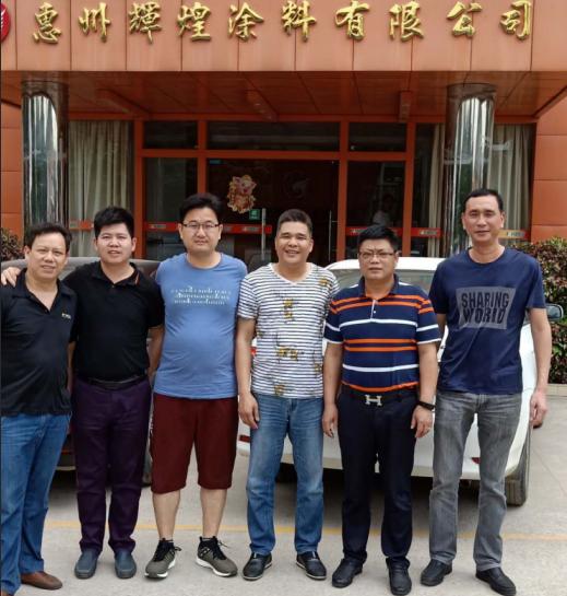 记深圳市盈创家具来访翔鹰水漆工厂进行实地参观考察